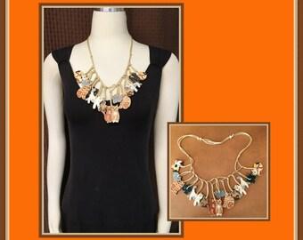 Cat Lovers Necklace, Wooden, Multi Colors, Adjustable, Lightweight, Dangling, Rope, Vintage