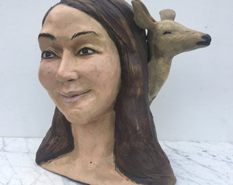 Ceramic Bust Sculpture Head, Figure Art Animal Narrative Portrait Loving Smile Face, Hello Deer