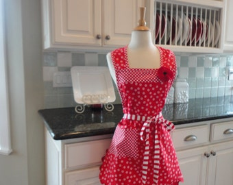 Cherry Crisp in Cherry Red ~ Annie Style ~  Women's Retro Apron ~ 4RetroSisters