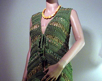ELEGANT VEST/CAFTAN - Wearable Fiber Art, Loosely Knitted, Top Quality Yarns
