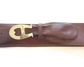 Vintage Etienne Aigner Belt / Wide Leather Belt / Logo Buckle