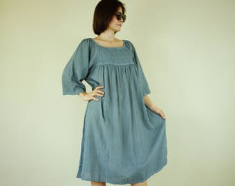Oversized Fit Raglan Sleeve Blue Dark Gray Cotton Dress Tunic With Handed Embroidery
