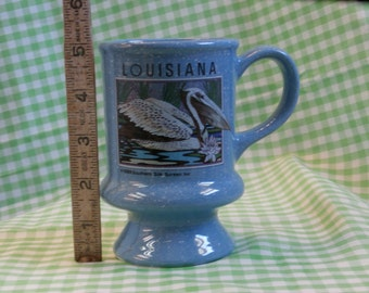 Country Blue Coffee Mug, Vintage Louisiana Souvenir, Speckled, Footed, and Retro Terrific
