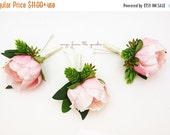 Winter Sale Pink Peony Boutonnieres - Hops and Eucalyptus Accents -  Groom Groomsmen Boutonnieres Prom Homecoming Boutonniere