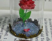 Quilled Enchanted Rose Dome Pendant