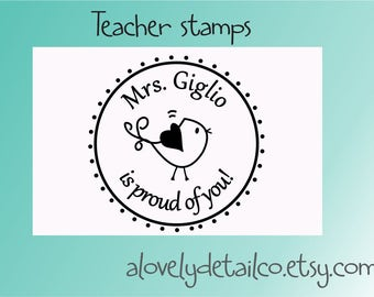 Teacher rubber stamper Personalized Teacher Self ink Custom Made Return Address Rubber Stamp great gift teacher stamper