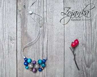 Turquoise Necklace, beaded wooden necklace, colorful accessories, colorful necklace, accessories, simple necklace, gift ideas