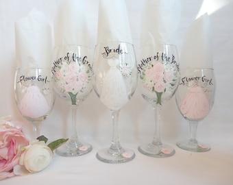 EXACT DRESS REPLICA, Hand Painted Bridesmaid Champagne Glasses, Bridesmaid Wine Glasses, Bridal Champagne Bridesmaid Gifts, Bridal Champagne