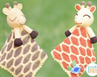 NEW PATTERN - Rusty the Giraffe Security Blanket Lovey Crochet PDF Pattern with Instant Download