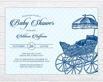 Vintage Stroller Baby Boy Shower Invitation, Personalized Baby Shower Invitation, Printable Baby Shower Invite, Baby Shower Invite Template
