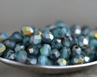4mm Matte Blue Round Beads, Czech Glass Fire Polished beads, Faceted Glass Beads, Matte Blue with matte Marea (100pcs) NEW