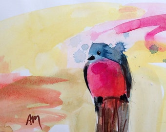 Bluebird no. 97 Original Watercolor Bird Painting by Angela Moulton 8 x 10 with 11 x 14 inch Mat