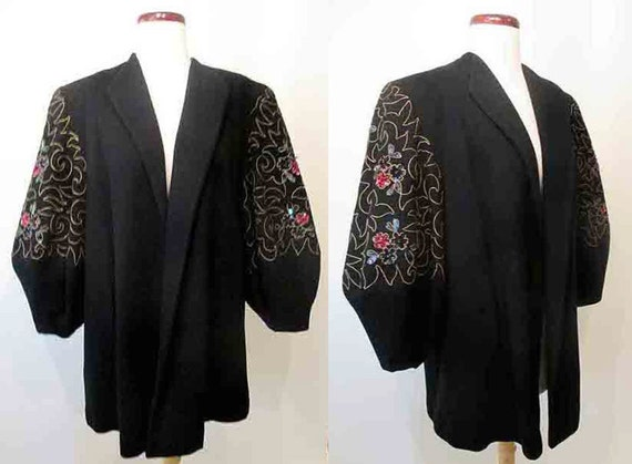 "Stunning 1940's  XXL Beaded Cocktail Jacket from ""Bullocks Wilshire of Hollywood"" Vintage Glamor Pinup Girl VLV Old Hollywood Starlet"