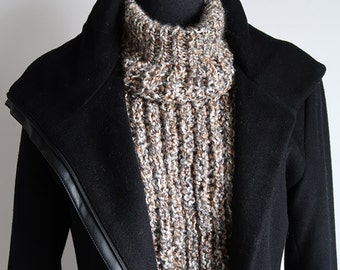 Granite Sand Marble Stone Color Light Taupe Beige Gray White Knitted Chunky Unisex Turtleneck Collar Dickey Gaiter Cowl