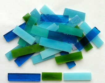 Blue and Green Tiffany Stained Glass Border Mosaic Tiles//Sliver Rectangle Tiles//Mosaic Supplies//Mosaic