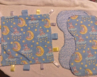Baby Bunnies Baby Gift Set - 1 Sensory Blanket and 2 Burp Cloths