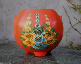 Ransburg Pottery Round Hand Painted Pot - 1950s Vintage - Cooki Jar