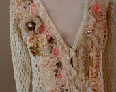 RESERVED for TiaNo altered couture cream ivory upcycled crocheted cardigan shabby chic vintage lace small cardi