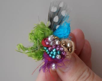 beaded feather ring, hippie beaded textile ring, bright fairy ring, fiber art ring, beaded green silk gypsy ring, boho feather ring