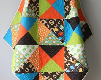 Modern Baby Quilt, Nursery Bedding, Toddler Quilt, Crib Quilt, Baby Boy Quilt, Blue, Orange, Green and Brown, Handmade Quilt,