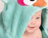 Girl Aqua Owl Hooded Towel