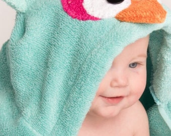 Girl Aqua Owl Hooded Towel