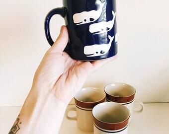 whale and diner vintage mug set of 4