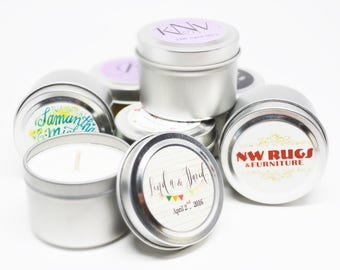 Wedding Tester Fragrance Soy Candles in Two Ounce Travel Silver Tin with Free Domestic Shipping