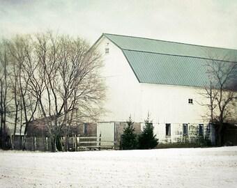 White Barn Photograph, winter barn print, rustic farmhouse decor, barn in winter photo, old country barn, white barn in winter