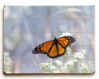 Monarch Butterfly Photo, Wood Plank Wall Art, Butterfly Print, Wood Sign, Nature Photograph, Art on Wood, Wood Panel Art, Photograph on Wood