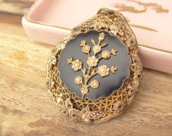 Vintage Black and Gold Filigree Flower Pendant, Tiny Seed Cabochons, Flower Decals, Vintage Jewelry Destash Finding D45