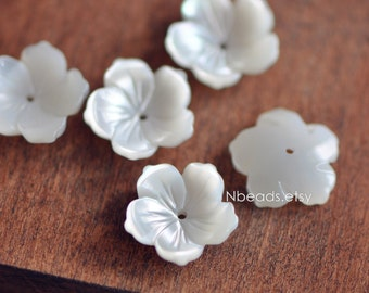 10pcs White Mother of Pearl Flowers 14mm, Center Drilled Carved 3D Shell Flowers (V1223)