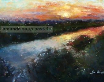 Sunrise on the Marsh archival print of original pastel painting