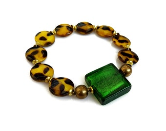 Green Gold Beaded Bracelet, Lampwork Bracelet, Cheetah Leopard Bracelet, Mother of Pearl Bracelet