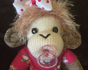 Baby Sock Monkey Girl.  Large Rockford Red Heel sock monkey.  Made by hand in the USA.