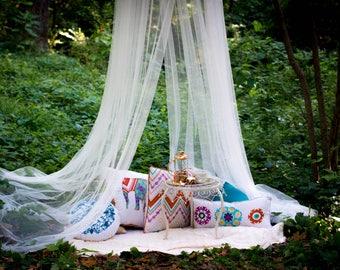Bohemian Nursery - Nursery Decor - Bohemian Baby - Bed Canopy - Bohemian Decor - Boho Curtains - Silk Canopy - Indoor Tent - Indoor Canopy