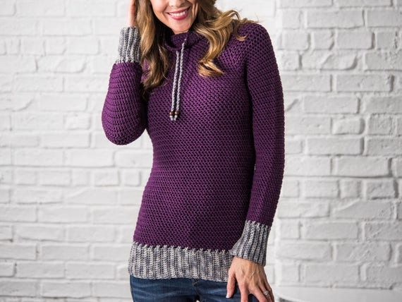 Crochet Sweater pattern Women plus size top down crochet