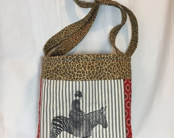 Edwardian woman on a Zebra quilted  tote bag handmade Tanzania textile sun rooster crow Shweshwe vintage fabric