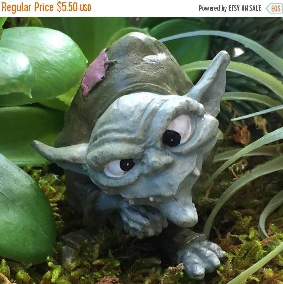 "SALE Miniature Troll Figurine, ""Ollie"",  Garden Decor, Fairy Garden Accessory, Enchanted Garden, Cake Topper"