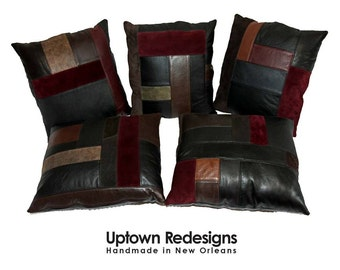 Leather Patchwork Pillows - Made from Leather Coats, Garments - Upcycled, Recycled, Individually Designed