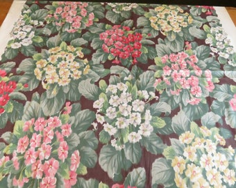 3 YARDS 1940s Vintage Hollyhocks Pink Yellow Floral Fabric 36w Cotton Print