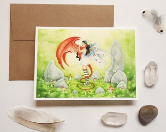 Fairy Art Note Card - Poppy's Dragon - fantasy art. watercolor. whimsical. fairy tale. mushrooms. nature. magical. greeting card.
