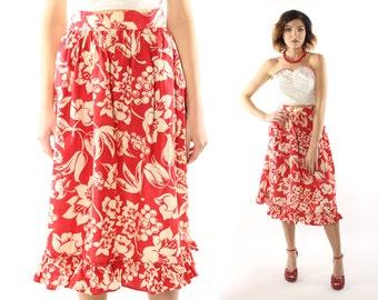 Vintage 40s 50s Hawaiian Skirt High Waisted Ruffled Hem Red White Floral 1940s 1940s Pinup Rockabilly Medium M