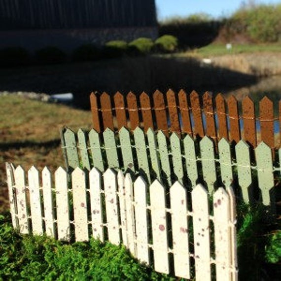 Rustic 12 in. Fairy Fence (Cream, Green, Brown) Choose 1