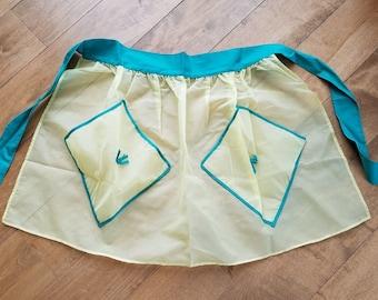 Vintage Yellow and Teal Two Pocket Sheer Half Apron