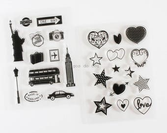 Stamp Set - Travel Stamp or Heart Stamp - Clear Stamps - Card Making - Scrapbooking - Ready to Ship