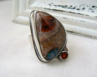 Fire Opal Duet Ring in Sterling Silver - Size 10 - READY TO SHIP - Gemstones, orange, hand fabricated, jewelry