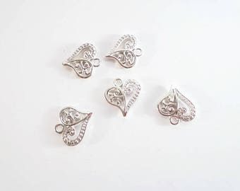 10 Hollow Antique Heart Charms: Bright Silver Finish Two-Sided Charms for Bracelets, Heart charms, charm bracelets, jewelry supplies