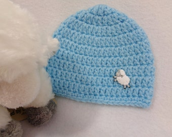 SALE Blue Baby Cap with Lamb Button, Photo Prop, Simple Infant Hat with Sheep, Newborn Beanie by Charlene, Photo Prop READY to SHIP