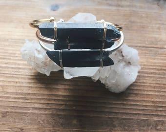Black Crystal or Rose Quartz Gemstone Shiny Cuff in Silver Gold or Rose Gold Cuff Bracelet Crystal Cuff Bracelet Quartz Cuff